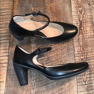 Ecco Leather Mary Jane Pump/Heel 38 Black